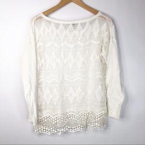 Joie Sweaters - Joie Jenka White Silk Combo Lace Pullover Sweater